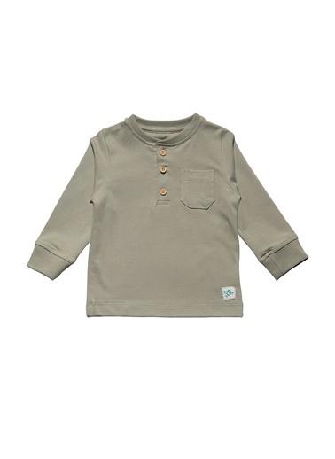 Nila Kids Açık Yeşil Rengi Düðmeli Uzun Kollu Organik Tişört NK08014AY (6 AY- 5 YAş) Renkli
